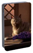 Still Life With Wine Fruit And Cat  Portable Battery Charger