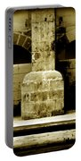 Stone Face - Limestone Windows Column And Bank Create A Misterious Face Portable Battery Charger