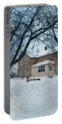 Stone Farmhouse In Winter Portable Battery Charger