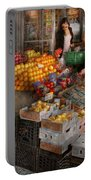 Storefront - Hoboken Nj - Picking Out Fresh Fruit Portable Battery Charger by Mike Savad