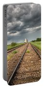 Storm Clouds Over Grain Elevator Portable Battery Charger