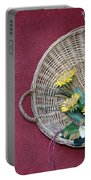 Straw Basket With Flowers Portable Battery Charger