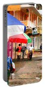 Street Scene In Rosea Dominica Filtered Portable Battery Charger