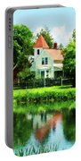 Suburban House With Reflection Portable Battery Charger