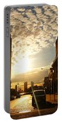 Summer Sunset Over A Cobblestone Street - New York City Portable Battery Charger