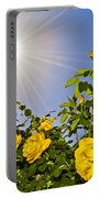 Sunflare And Yellow Roses Portable Battery Charger by Amber Flowers