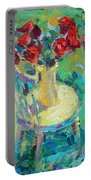 Sunny Impressionistic Rose Flowers Still Life Painting Portable Battery Charger