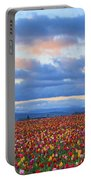 Sunrise Over A Tulip Field At Wooden Portable Battery Charger
