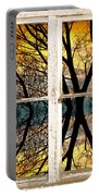 Sunset Tree Silhouette Abstract Picture Window View Portable Battery Charger