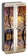 Sunset Tree Silhouette Colorful Abstract Picture Window View Portable Battery Charger by James BO  Insogna