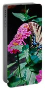 Swallowtail Among The Zinnias Portable Battery Charger