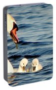 Swan And Signets On Wall Lake  Portable Battery Charger