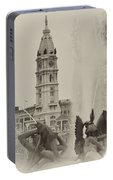 Swann Memorial Fountain In Sepia Portable Battery Charger