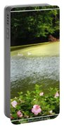 Swans On Pond And Hibiscus With Oil Painting Effect Portable Battery Charger