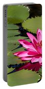 Sweet Pink Water Lily In The River Portable Battery Charger