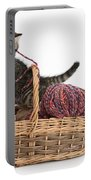 Tabby Kitten Playing With Knitting Wool Portable Battery Charger