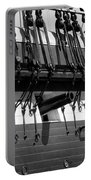 Tall Ship Canons Black And White Portable Battery Charger