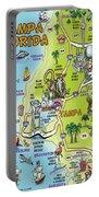 Tampa Florida Cartoon Map Portable Battery Charger