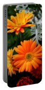 Tangerine Colored Gerbera Daisies Portable Battery Charger
