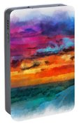 Taos Sunset Iv Watercolor Portable Battery Charger