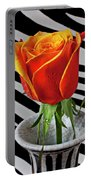 Tea Rose In Striped Vase Portable Battery Charger