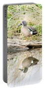 Teal Duck Standing On A Log Portable Battery Charger