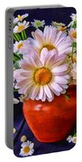 Technicolor Daisies In An Orange Pot Portable Battery Charger