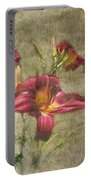 Textured Red Daylilies Portable Battery Charger