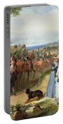 The Girls We Left Behind Us - The Departure Of The 11th Hussars For India Portable Battery Charger by Thomas Jones Barker