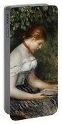 The Reader A Seated Young Girl  Portable Battery Charger by Pierre Auguste Renoir