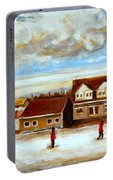 The Schoolhouse Winter Morning Quebec Rural Landscape Portable Battery Charger