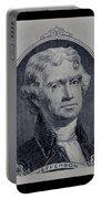 Thomas Jefferson 2 Dollar Bill Portrait Portable Battery Charger