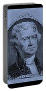 Thomas Jefferson In Cyan Portable Battery Charger