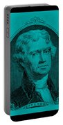 Thomas Jefferson In Turquois Portable Battery Charger by Rob Hans