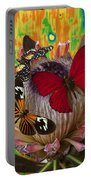 Three Butterflies On Protea Portable Battery Charger