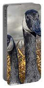 Three Canada Geese In An Autumn Cornfield Portable Battery Charger