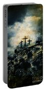 Three Crosses On Golgotha Grunge Background Portable Battery Charger