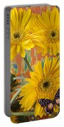 Three Daisy's And Butterfly Portable Battery Charger