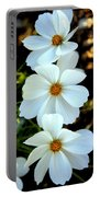 Three White Flowers Portable Battery Charger