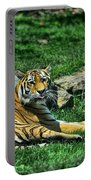 Tiger - Endangered - Lying Down - Tongue Out Portable Battery Charger