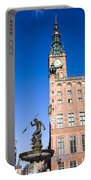 Town Hall And Neptune Fountain In Gdansk Portable Battery Charger