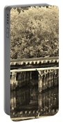 Track On The River In Sepia Portable Battery Charger