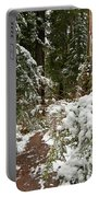 Trail Through Snow-decked Redwood Grove Portable Battery Charger