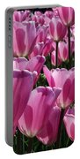 A Field Of Translucent Tulips Portable Battery Charger