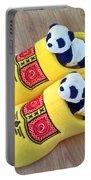 Travelling Pandas Series. Dutch Weekend. Cozy Dutch Clogs. Square Format Portable Battery Charger