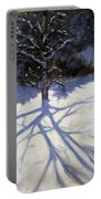Tree And Two Tobogganers Portable Battery Charger by Andrew Macara