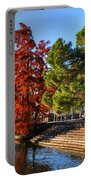 Trees On The Lake Front In Autumn Portable Battery Charger