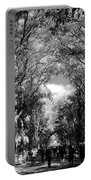 Trees On The Mall In Central Park In Black And White Portable Battery Charger