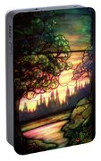 Trees Stained Glass Window Portable Battery Charger