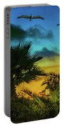 Tropical Sunset With Pelicans Portable Battery Charger